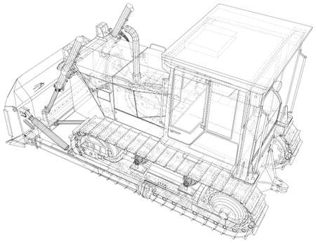 Building bulldozer illustration vector. Wire-frame line isolated. Vector rendering of 3d.