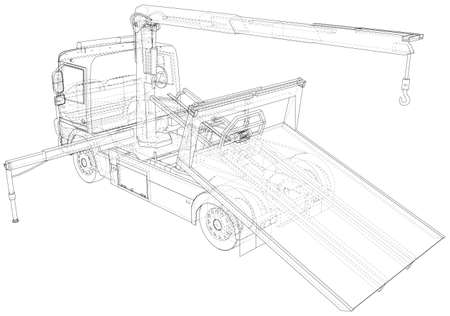 Vector Wire-frame tow truck. The layers of visible and invisible lines are separated. Stock Illustratie