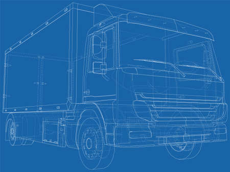 Commercial van freight. Vector illustration. Wire-frame line isolated. Vector rendering of 3d.