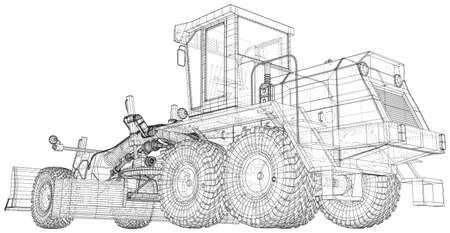 Motor Grader in outline style. Wire-frame line isolated. Vector rendering of 3d.
