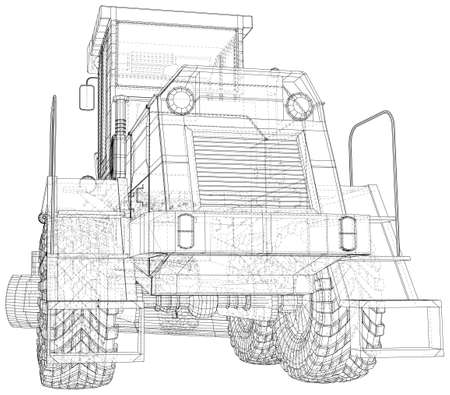 Heavy equipment vehicle. Grader. Wire-frame. Vehicle Vector Illustration transport. The layers of visible and invisible lines are separated. EPS10 format. Vettoriali