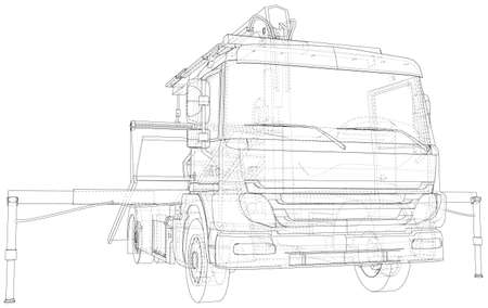 Wire-frame line illustrations of tow trucks. format. Vector created of 3d.