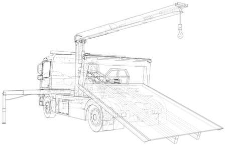 Tow truck vector. Towing car trucking vehicle transportation towage. Help on road. Wire-frame. The layers of visible and invisible lines are separated.  format. Stock Illustratie