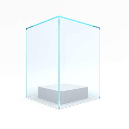 Empty glass showcase for exhibit. 3d rendering.