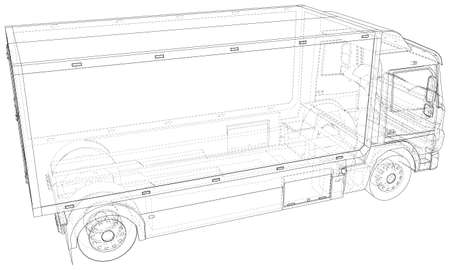 Commercial van truck. Illustration of freight truck. The layers of visible and invisible lines are separated.