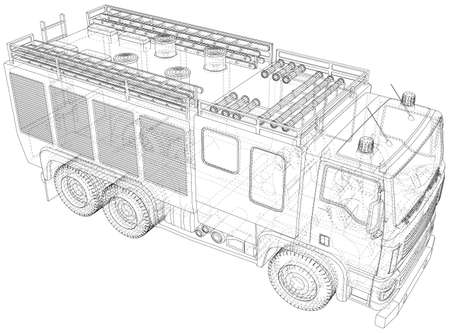 Fire Engine. Fire truck Wire-frame line isolated. rendering of 3d. Illustration