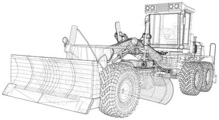 Motor grader. Vector Wire-frame excavator on background. Vector rendering of 3d. Vetores