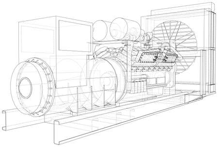 Gas engine is an internal combustion engine which runs on a gas fuel. Wire-frame line isolated on white. Vector rendering of 3d.