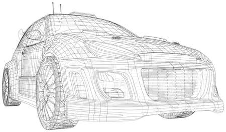 Racing car. Isolated wire-frame line on backround. Vector rendering of 3d.