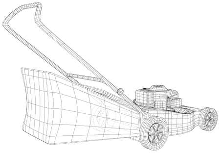 Vector outline Lawn mower. Wire-frame vector equipment for garden. EPS10 format. Vector created of 3d.
