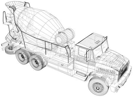 Concrete Mixer Truck isolated on the white background. Technical illustration wire-frame. Vector rendering of 3d.