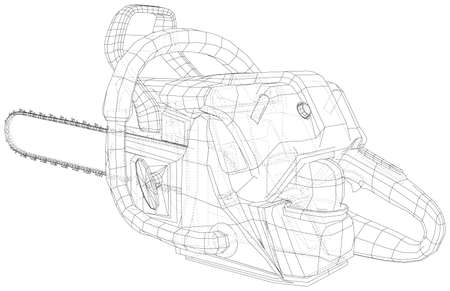 Vector outline chainsaw. Wire-frame. EPS10 format. Vector created of 3d. Vetores