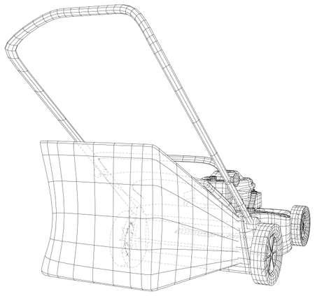 Lawn mower gasoline equipment. Gardening grass-cutter. EPS10 format. Wire-frame Vector created of 3d. Vector Illustratie