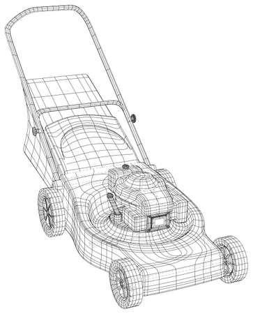 Petrol Lawn mower machine. Garden instrument. Technical illustration wire-frame. Vector rendering of 3d Vecteurs