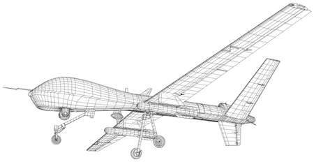 Military Predator Drone. Wire-frame Outline Drawing Aircraft. Vector created of 3d