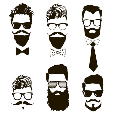 Set of vector bearded men faces, hipsters with different haircuts, mustaches, beards, sunglasses. Banco de Imagens