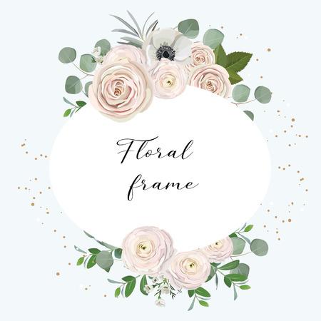 rose, anémone, renoncule, camélaucium, fleurs roses et feuilles d'eucalyptus décoratives saluant le concept de conception de cadre floral Vecteurs
