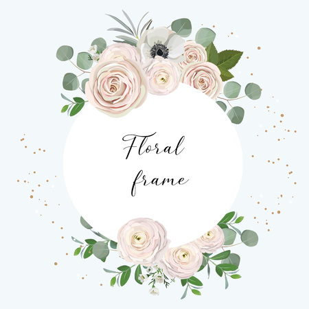 rose, anemone, ranunculus, chamelaucium, pink flowers and decorative eucaliptus leaves greeting floral frame design concept