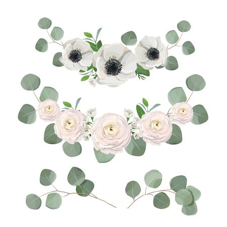 floral wreath, eucalyptus leaves, anemone and ranunculus flowers. Vector template, greeting, wedding card design elements