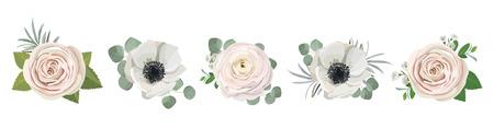 anemone ranunculus eucalipto rosa peonia fiori e rami di eucalipto bouquet illustrazione vettoriale, elementi floreali disegnati a mano impostati per biglietti di auguri, inviti di nozze. Vettoriali