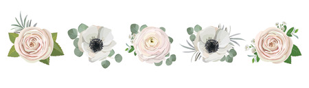 anemone ranunculus eucalyptus rose peony flowers and eucalyptus branches bouquet vector illustration, hand drawn floral elements set for greeting cards, wedding invitations. Vektorové ilustrace