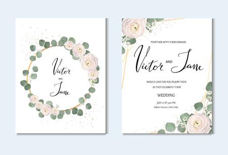 rose, anémone, renoncule, camélaucium, fleurs roses et feuilles d'eucaliptus décoratives ensemble de cartes de vœux. modèle d'invitation de mariage, concept de design