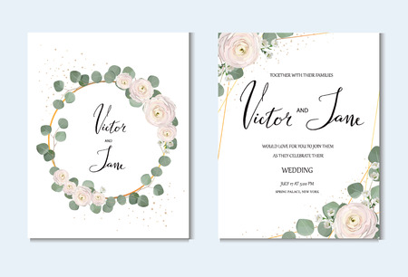 rose, anemone, ranunculus, chamelaucium, pink flowers and decorative eucaliptus leaves greeting design cards set. wedding invitation template, design concept