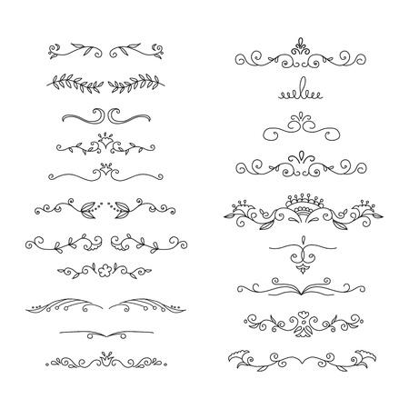 Hand drawn floral borders set