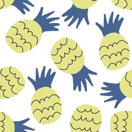 Pineapple seamless pattern. Vector illustration.