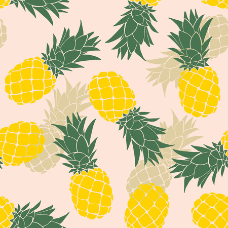 Pineapple seamless pattern. Vector illustration. Vectores