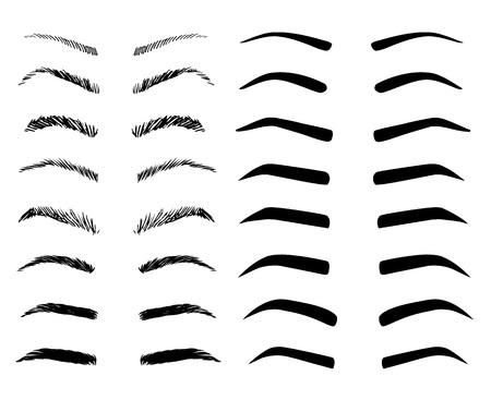 Ensemble d'illustrations de formes de sourcils. Différents types de sourcils.