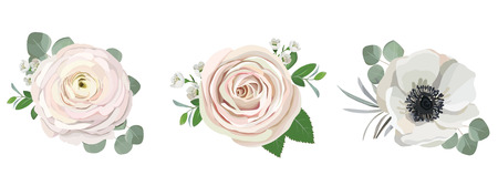 anemone ranunculus eucalyptus rose peony flowers and eucalyptus branches bouquet vector illustration, hand drawn floral elements set for greeting cards, wedding invitations.