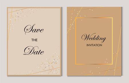 wedding invitation cards with gold geometric pattern vector design template.Trendy wedding invitation.