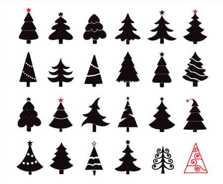 Cute Hand drawn Christmas tree icons set isolated on white background Ilustração