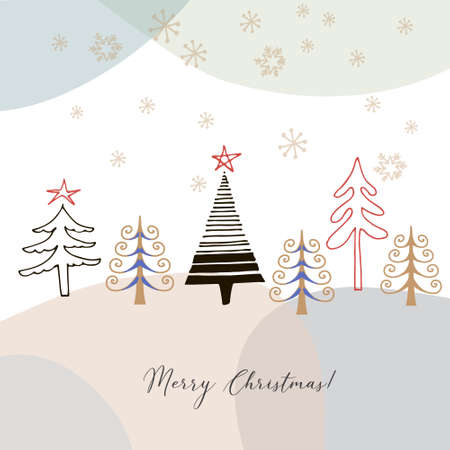 Cute hand drawn christmas card with doodle christmas trees on abstract colorful background, vector design concept