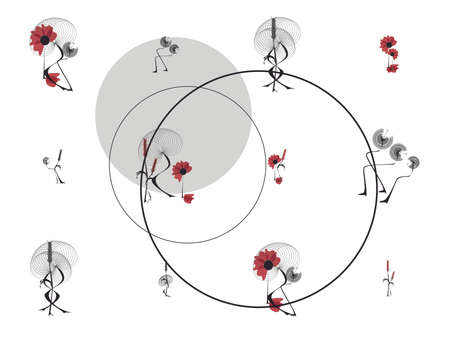 Print Abstract geometric flowers and circles that create a balance in composition. Gray base with touches of coral.