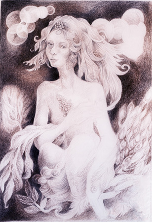 wavy hair: A fantasy detailed drawing of elven woman creature with leaves and wavy hair, fantasy monochromatic drawing