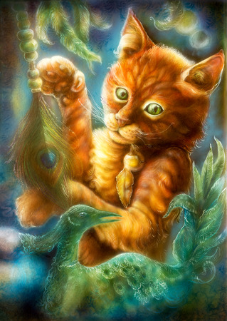 bird feathers: Beautiful fantasy colorful painting of a radiant orange cartoon cat playing with a peacock feather  Stock Photo