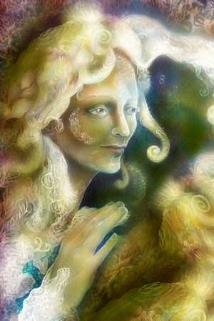 fairy woman: Beautiful fantasy colorful painting of a radiant elven fairy woman creature and energy lights