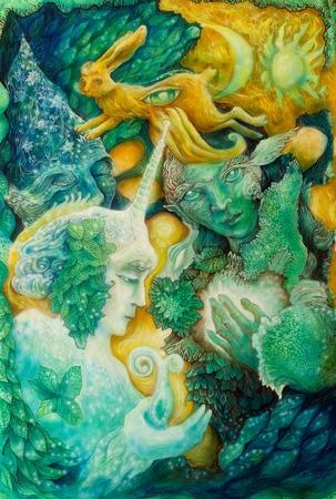 Mooie fantasie kleurrijke schilderij van een stralende elven fairy wezens en energie lichten, een inzicht in een fee rijk