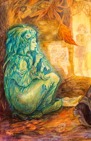 emerald green fairy playing flute on a street on late autumn evening, beautiful detailed colorful painting, profile portrait