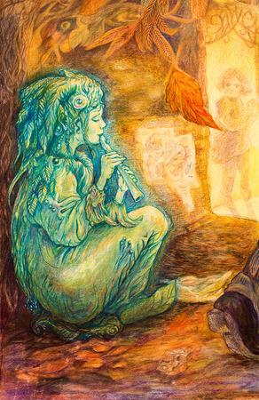 smaragdgroen fee spelen fluit op een straat op de late herfst avond, mooi gedetailleerde kleurrijke schilderen, profiel portret Stockfoto