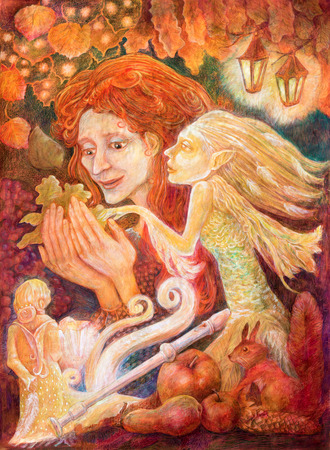 autumn woman: Beautiful fantasy drawing of a autumn woman with red hair heading a message from a leaf in a company of fairy being, detailed colorful image, profile portrait Stock Photo