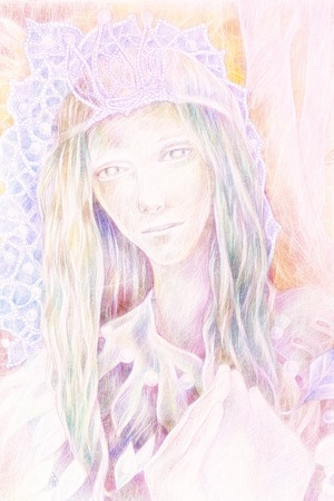 green hair: Beautiful fantasy drawing of a fairy woman forest queen with a crown of pearls and long green hair, radiant and detailed portrait Stock Photo