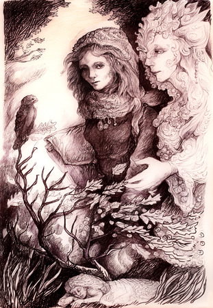 elven: A beautiful detailed monochromatic drawing of fantasy scenery of a young girl in autumn walk conversation with her elven fairy friend, wind, bird and leaves, and all around