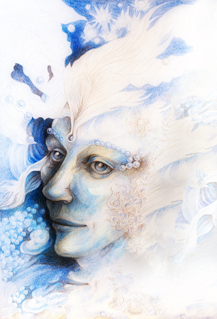 man close up: A fantasy detailed drawing of elven man creature, blue fairy man face portrait with gentle abstract structures of pearls and feathers, monochromatic