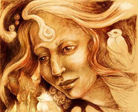 Fairy woman face drawing, sepia monochromatic ornamental profile portrait