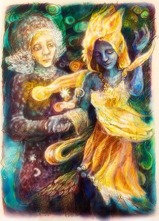 Een mooi gedetailleerde monochromatische fantasie tekening van dansende blauwe geest en visionaire vrouw