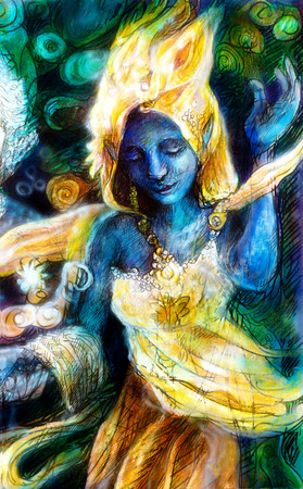 Blue dancing spirit in golden costume with energy lights, mystic fantasy painting, multicolor, abstract background