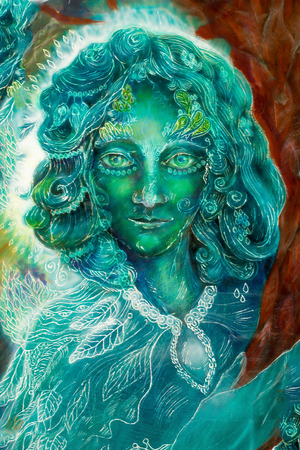 elemental: Beautiful colorful painting of a radiant elven creatures and energy lights, fantasy emerald green fairy portrait, colorful close up painting, eye contact